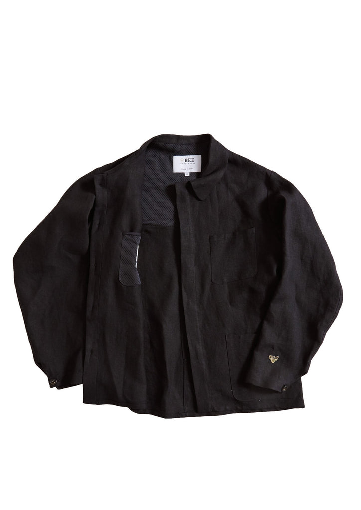Bee Black Linen Work Shirt