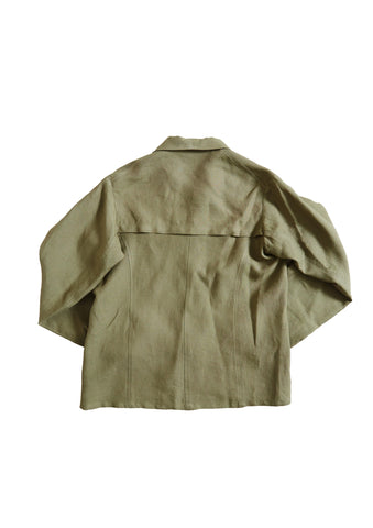 Bee Olive Linen Work Shirt