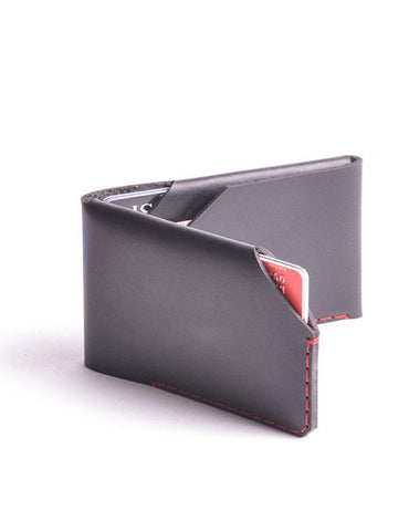 Wingback Leather Card Wallet in Charcoal Black