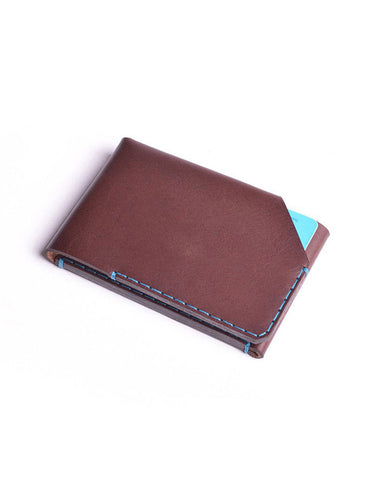 Wingback Leather Card Wallet in Chestnut Brown