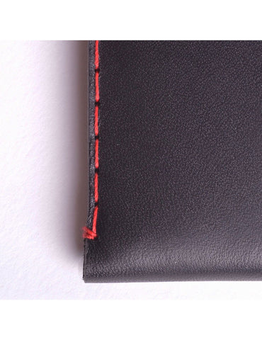 Wingback Leather Cardholder in Charcoal Black
