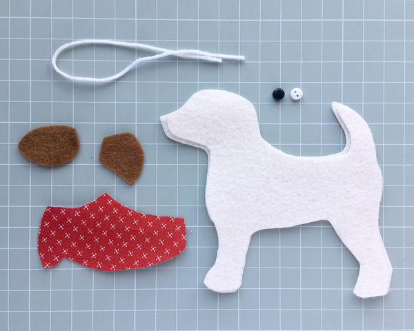Jack Russell dog felt ornament sewing pattern