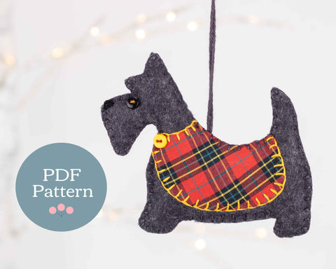 Scottie dog felt ornament sewing pattern