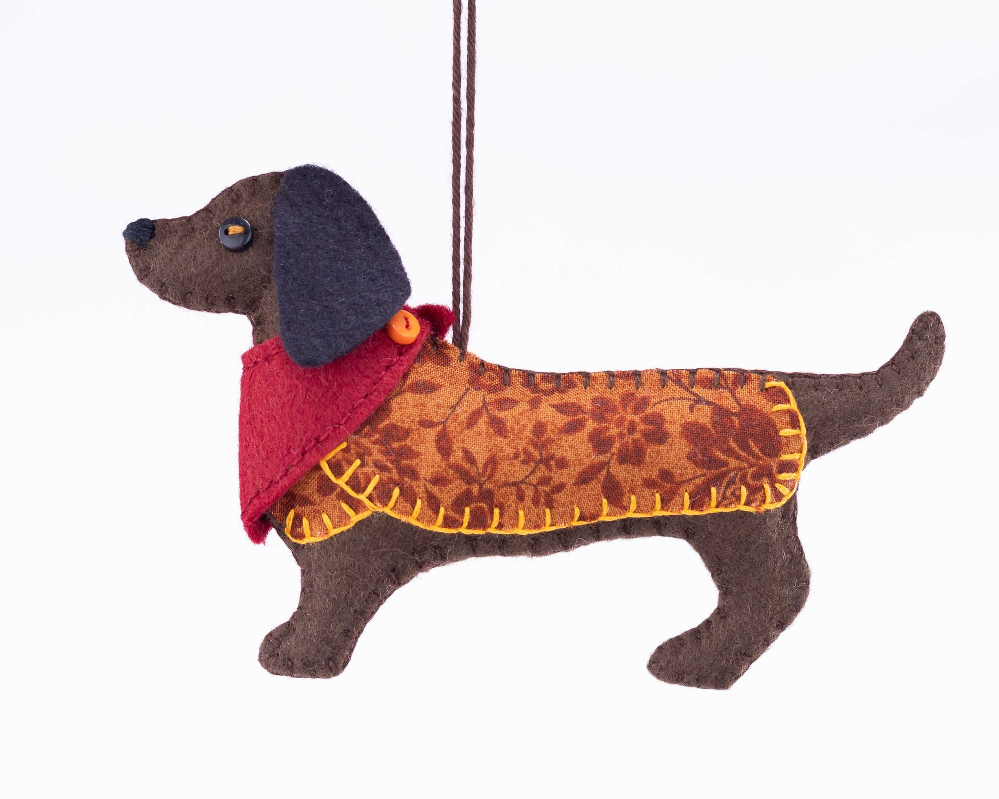 Bruno the felt Dachshund ornament