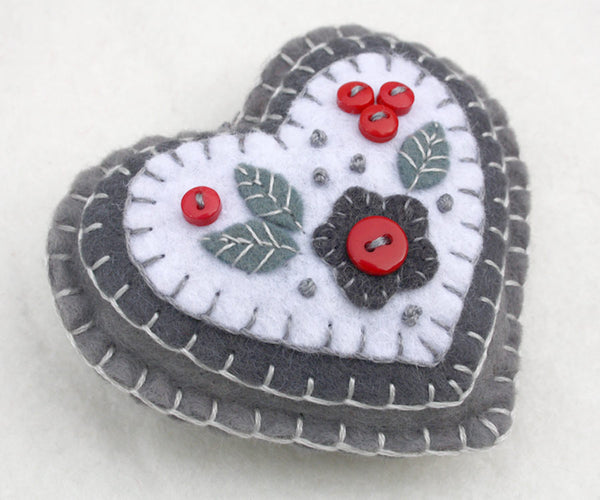 Red and Grey felt heart Christmas Ornament