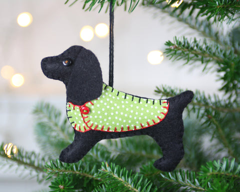 Cocker spaniel Christmas ornament, felt dog ornament, Merlin