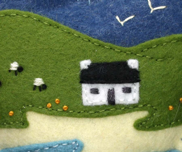 Irish cottage ornament, Felt heart ornament, Original textile Irish landscape.