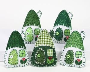 Felt Christmas Ornaments, Green and White Houses