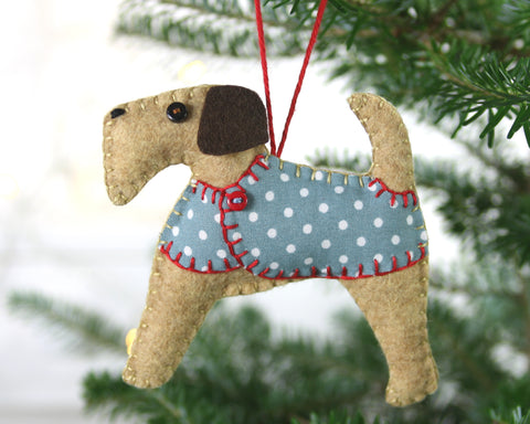 Bertie the Terrier Dog Christmas Ornament