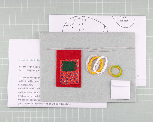 elephant felt craft kit contents