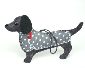 Felt dog ornament, Clara the Dachshund
