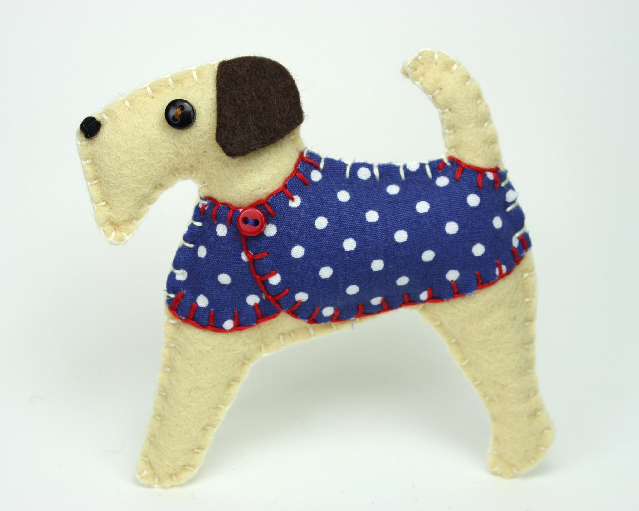 Felt dog Ornament, Dottie the Terrier