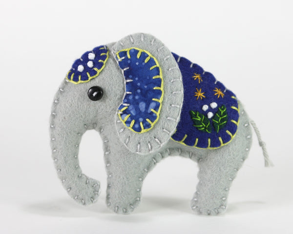 Felt Elephant Ornament, Elephant Christmas ornament