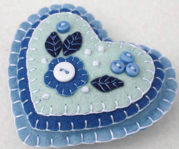 Blue and white heart Christmas ornament