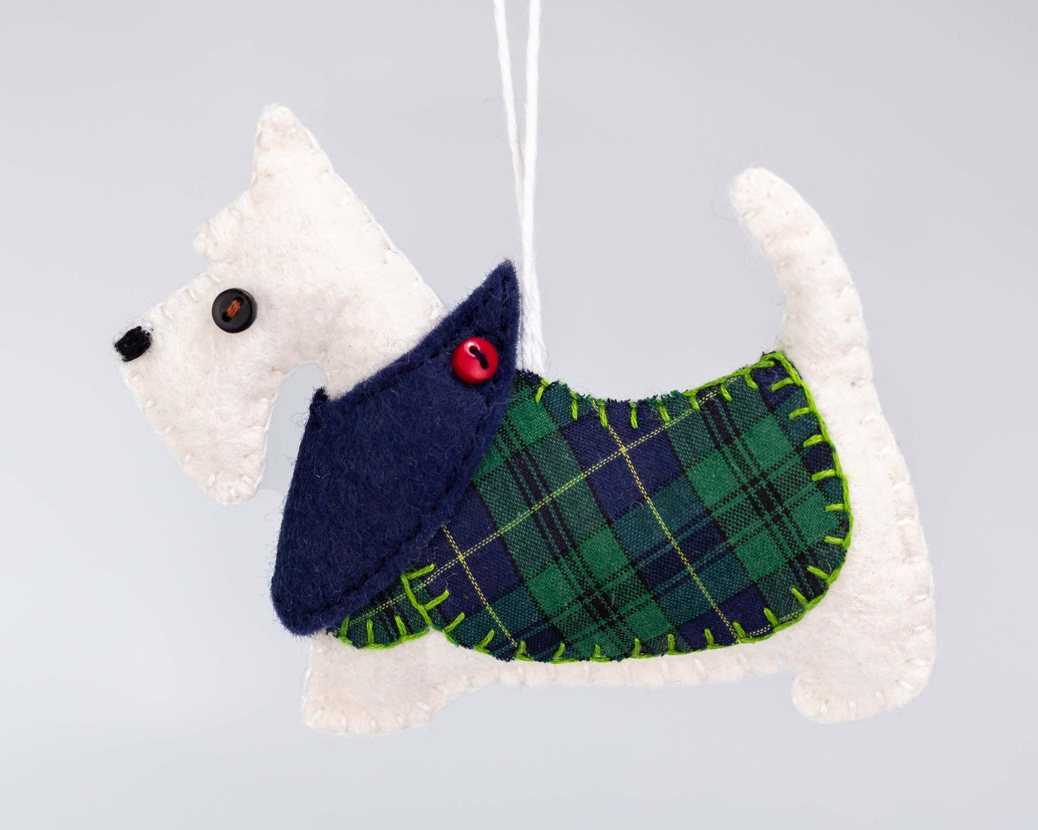 White Scottie Dog Christmas Ornament, Hamish