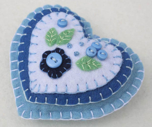 Felt heart ornament in blue and white