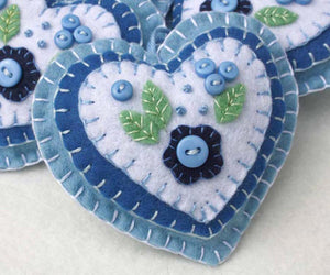 Heart Christmas ornament, blue and white