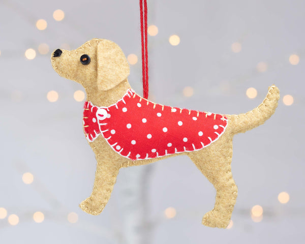 Labrador Christmas ornament, Golden Labrador felt dog ornament