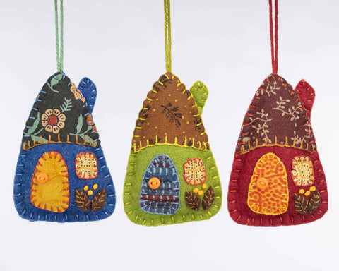 Autumn felt house ornaments