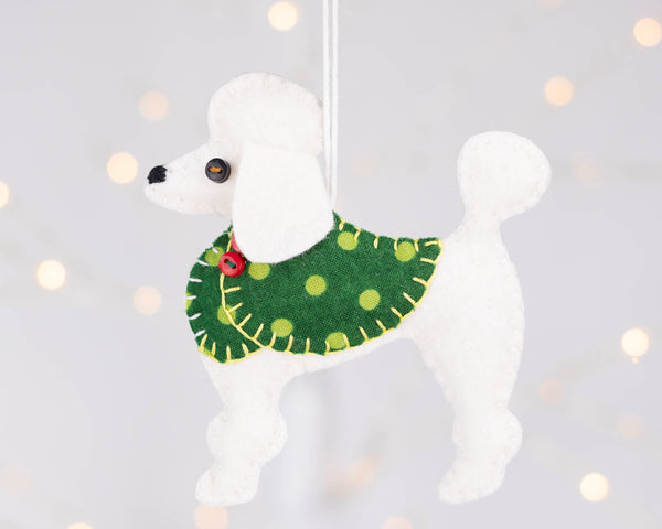 Poodle Christmas Ornament, Bonbon the white poodle.
