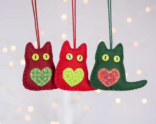 Felt Cat Christmas Ornaments
