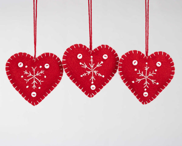 Red and white snowflake heart Christmas ornaments