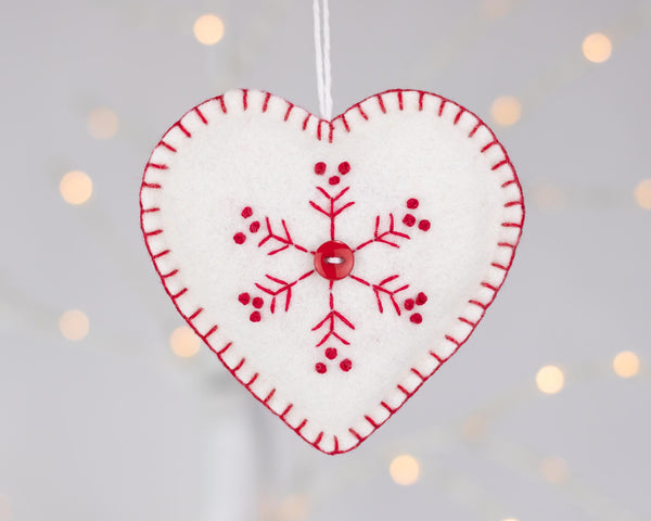 Red and white snowflake felt Christmas ornament set