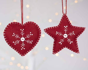 Set of two snowflake felt Christmas ornaments