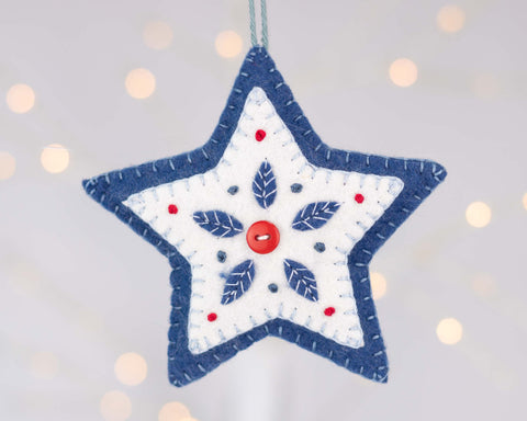 Nordic folk art felt star ornament, Scandinavian felt star Holiday ornament