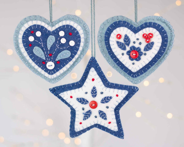 Nordic Christmas collection set of three ornaments