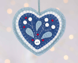 Nordic Christmas felt heart ornament, Mistletoe felt Holiday ornament