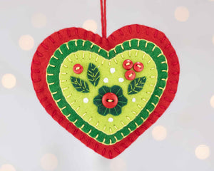 Red and Green felt heart Christmas Ornament