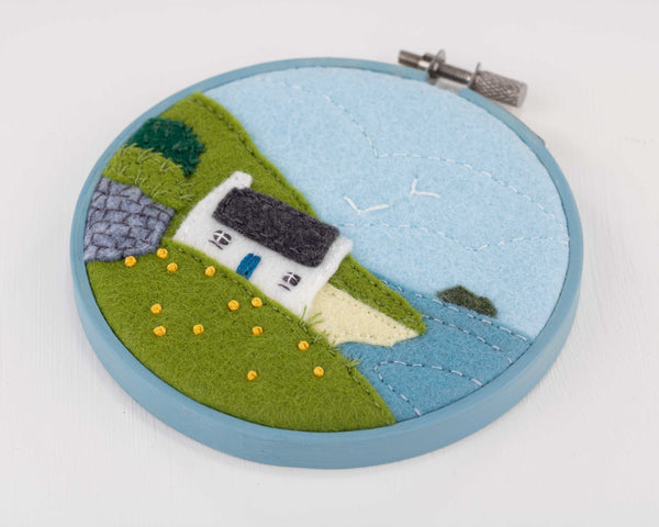 Great Blasket Island Cottage felt embroidery