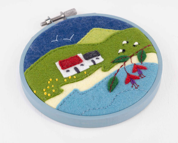 Hoop framed Irish landscape embroidery