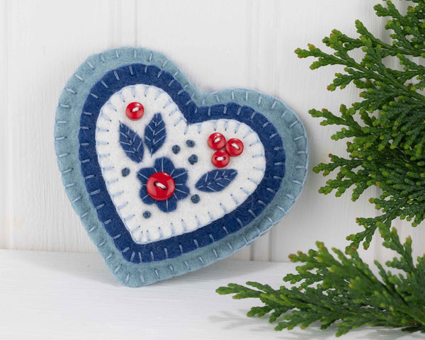 Nordic folk art felt Christmas ornament