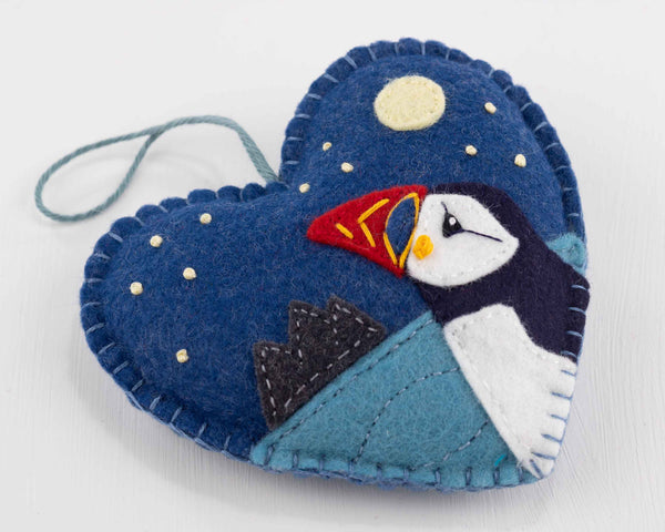 Embroidered felt puffin heart ornament