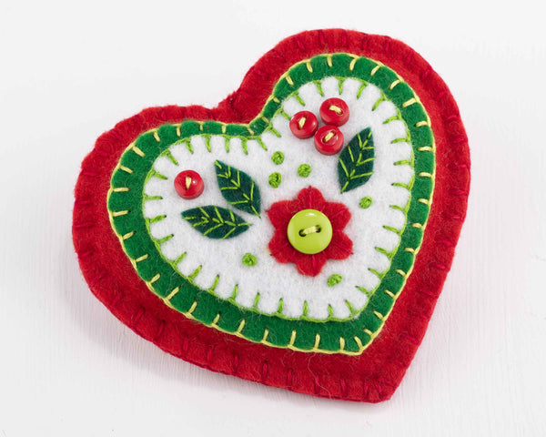 Felt Christmas Ornament, Red, White and Green heart.
