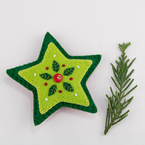 Star Christmas Ornament in red and green