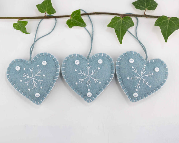 Blue and white snowflake heart Christmas ornaments