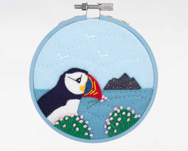 Nesting Puffin hoop framed felt embroidery