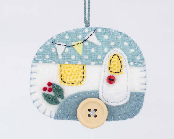 Felt Caravan ornament in blue and white