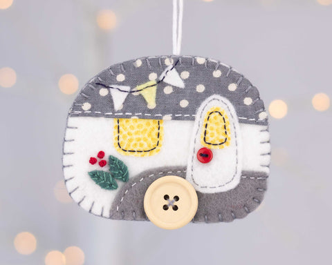 Vintage trailer Christmas ornament in grey and white