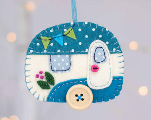 Vintage Trailer felt ornament Ornament in teal