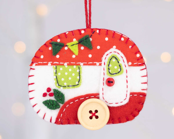 Vintage caravan Christmas ornament in red and white