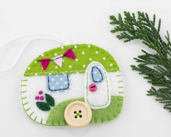 Felt camper ornament in green and white
