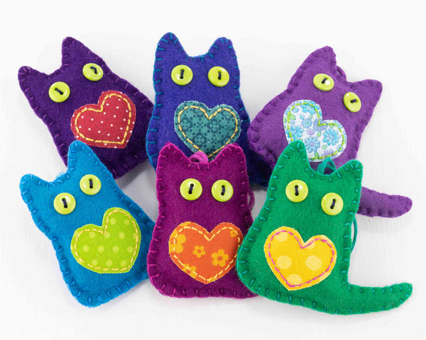Colourful felt Cat Ornaments
