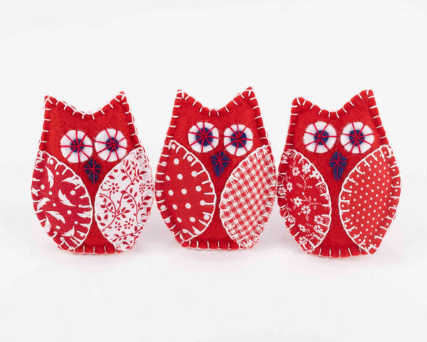 Red and white felt owl Christmas ornaments