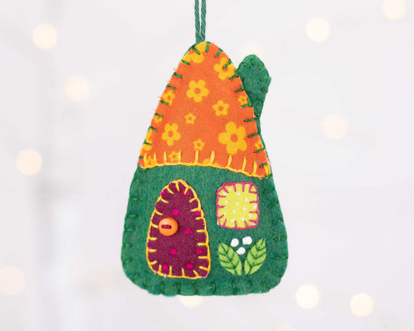 Colourful felt house ornaments