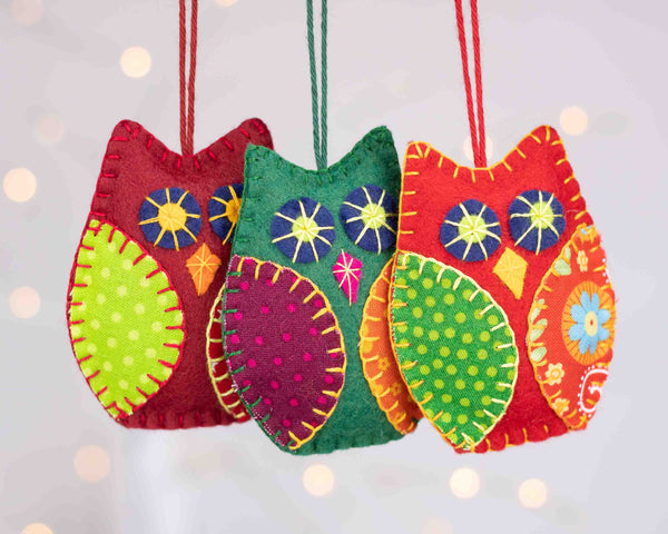 Felt Owl Christmas Ornaments