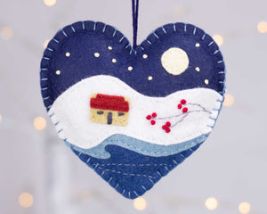 Moonlit winter cottage felt Christmas ornament
